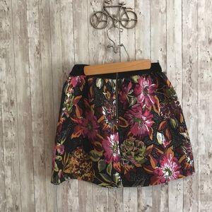 Anthropologie Skirts - Anthropologie metallic floral mini skirt